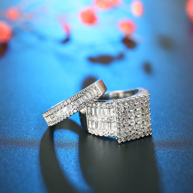 Square Cubic Zirconia Bridal Set Princess Cut CZ Jewelry Engagement Wedding Band Rings Set for Women