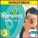 Pampers Baby Dry Windeln, Gr.3 (Midi) 5-9kg, Monatsbox, 198 Stück