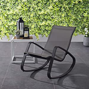 Modway Traveler Outdoor Patio Aluminum Mesh Rocking Sling Lawn Chair Glider in Black Black