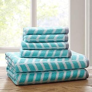Intelligent Design - Nadia Quick Dry, Premium Absorbent Chevron Cotton Towels Bath/Bathroom Set - Ultra Soft Bathroom Towels Set - Teal - 6 Piece Set incl. 2 Shower Towel 4 Hand Towel