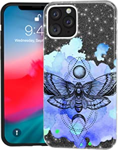 Mertak Glitter Case for Apple iPhone 11 Pro Max 10 Xr Xs X 8 Plus 7 6s Black Gothic Red Crystal Art Shiny Watercolor Deaths Head Moth Rose Insect Silicone Gold Silver Lightweight Purple Bling Sparkly