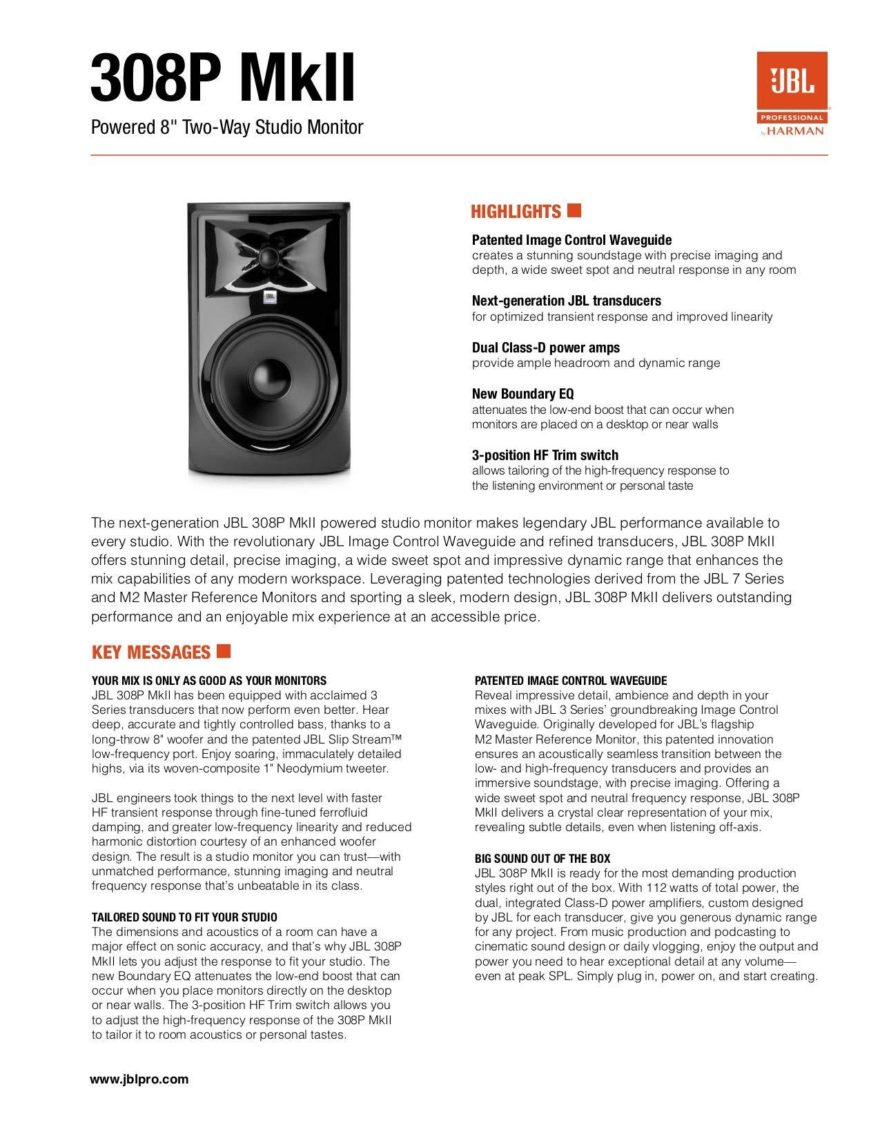 JBL 306P MkII 6'' 2-Way Powered Studio Monitor (new model) by JBL Professional (Image #10)