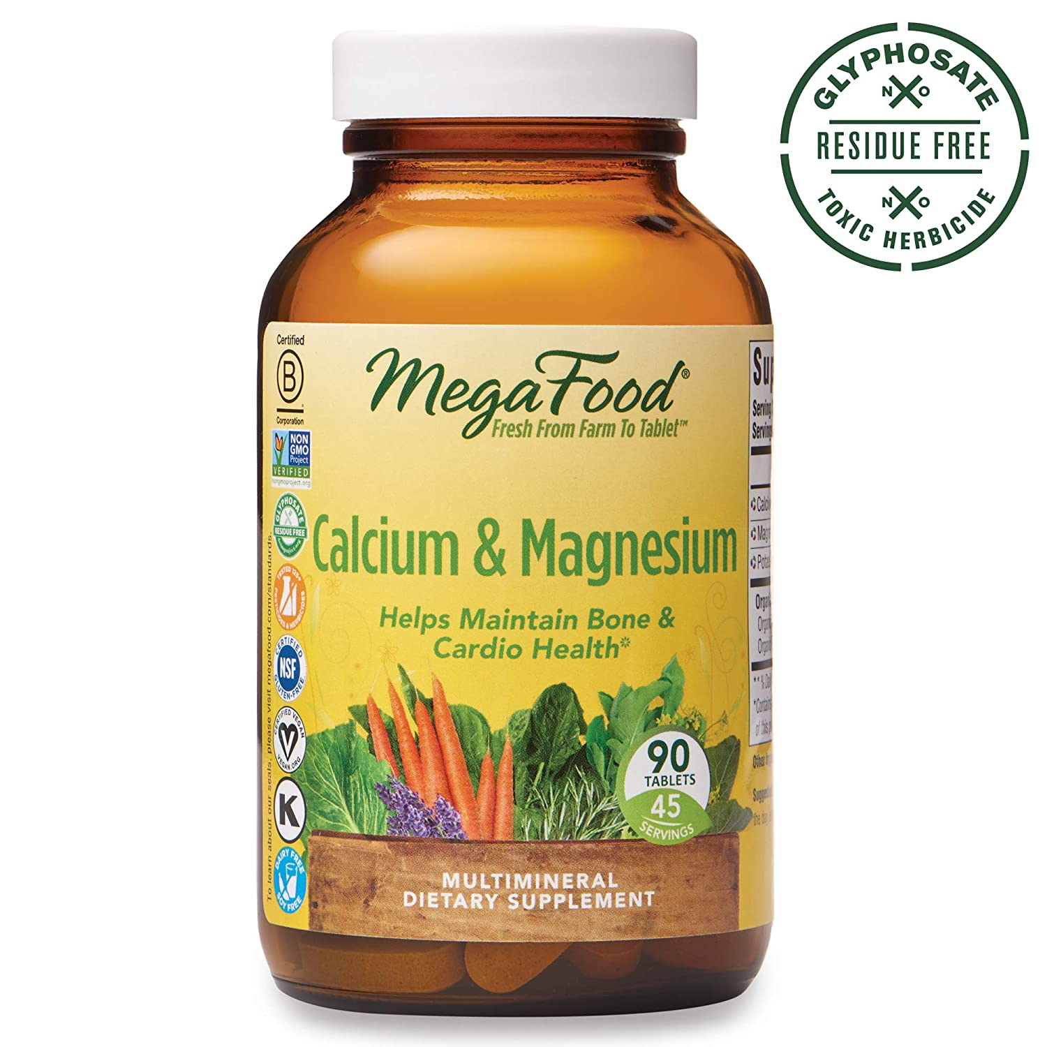 MegaFood, Calcium Magnesium, Helps Maintain Bone and Cardiovascular Health, Vitamin and Dietary Supplement, Gluten Free, Vegan, 90 Tablets 45 Servings FFP