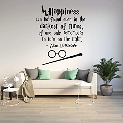 Harry Potter Wall Decal Happiness Can Be Found Even in the Darkest of Times Harry Potter Wall Decal Quote Hogwarts Wall Decal Vinyl Sticker Nursery Teens Room Kids Decor: Kitchen & Dining