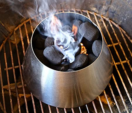 """The Only Kettle Charcoal Grill to BBQ Smoker 22/"""" Stainless Steel Converter"""