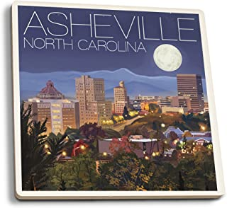product image for Lantern Press Asheville, North Carolina - Skyline at Night (Set of 4 Ceramic Coasters - Cork-Backed, Absorbent)