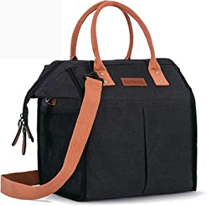 TOPBOOC Insulated Lunch Bag for Women Men Adult Reusable Thermal Cooler Bag Large Lunch Box Container Tote Bag with Adjustable Shoulder Strap & 3 Snack Bags for Work School Picnic Outdoor