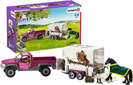 Schleich 42346 camión de recogida con caja de caballos Remolque para caballos /& Equitación Playset
