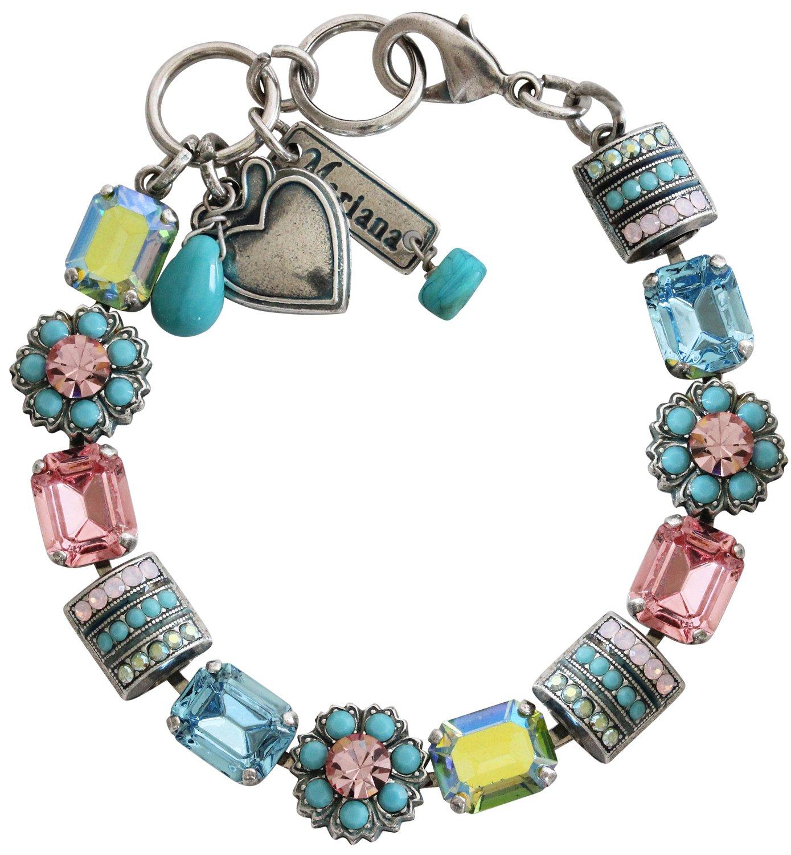 Mariana Silvertone Rectangular Flower Crystal Bracelet, 7'' Summer Fun Blue Pink Multi Color 4099 3711
