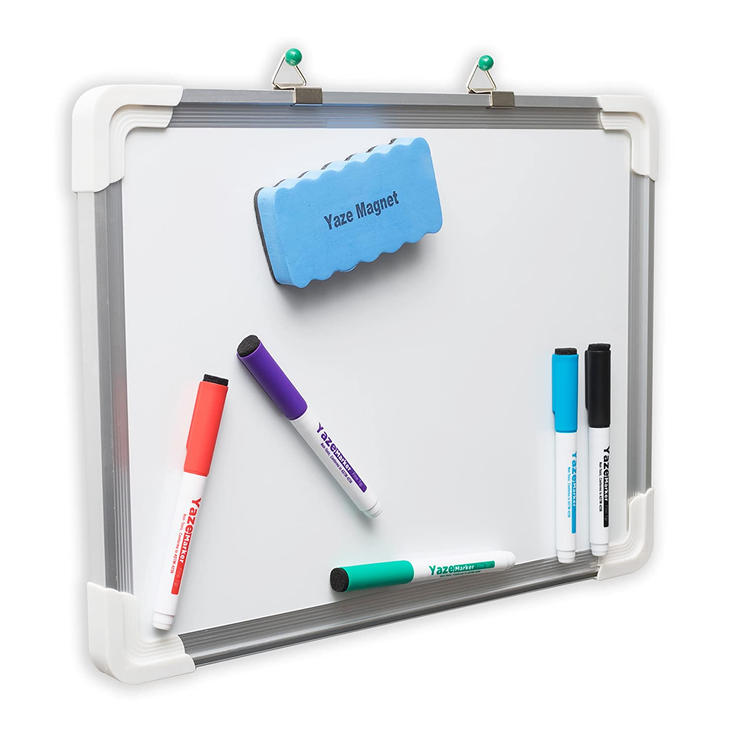 Dry Erase White Board: Hanging Writing, Drawing & Planning Small Whiteboard for Cubicle | 5 Magnetic Dry Erase Markers & Eraser | Easy to Clean Wall Whiteboard for Kids, Home, Office, School