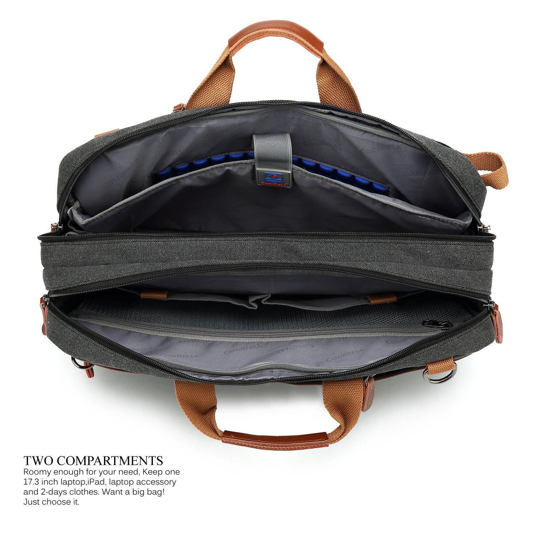 CoolBELL Convertible Backpack Shoulder Bag Messenger Bag Laptop Case Business Briefcase Leisure Handbag Multi-Functional Travel Rucksack Fits 17.3 Inch Laptop for Men//Women//Travel New Grey