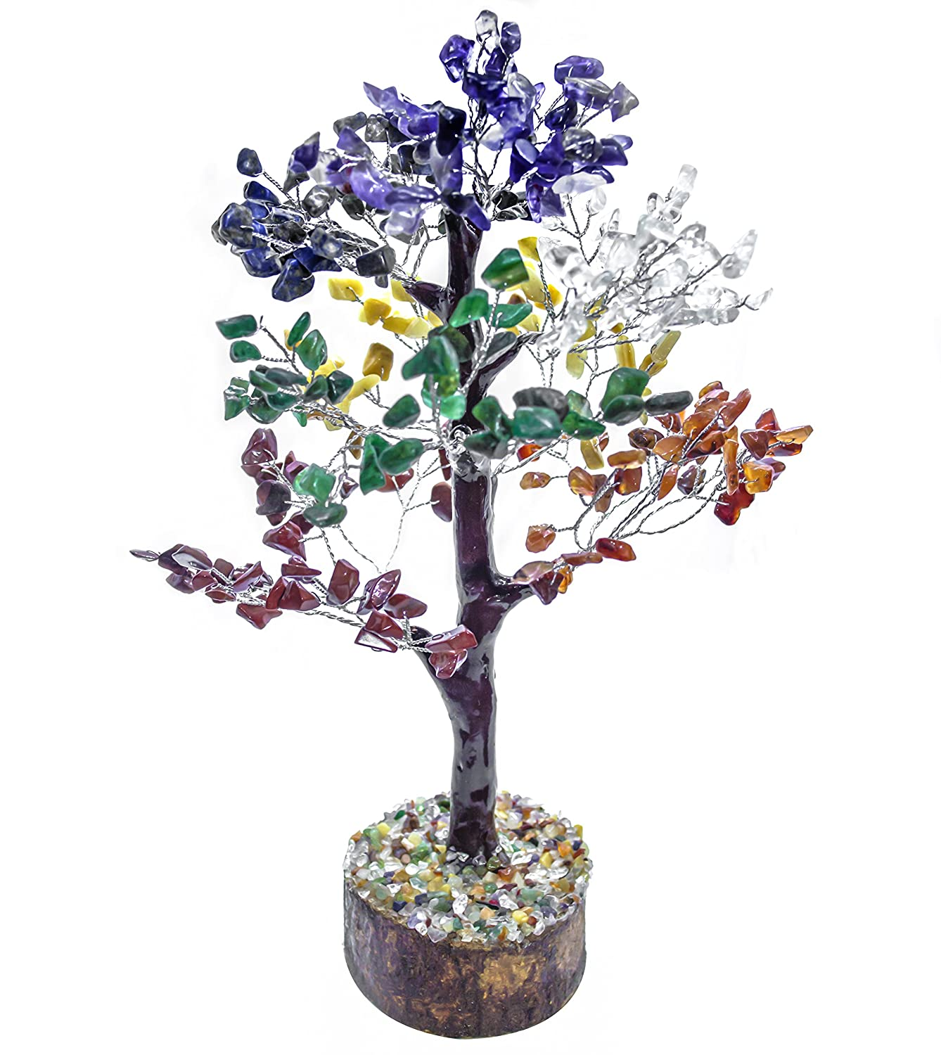 FASHIONZAADI Seven Chakra Natural Stone Feng Shui Bonsai Money Tree for Chakras Balancing Good Luck EMF Protection Healing Table Décor Health Prosperity Size 10-12 inch (Silver Wire)