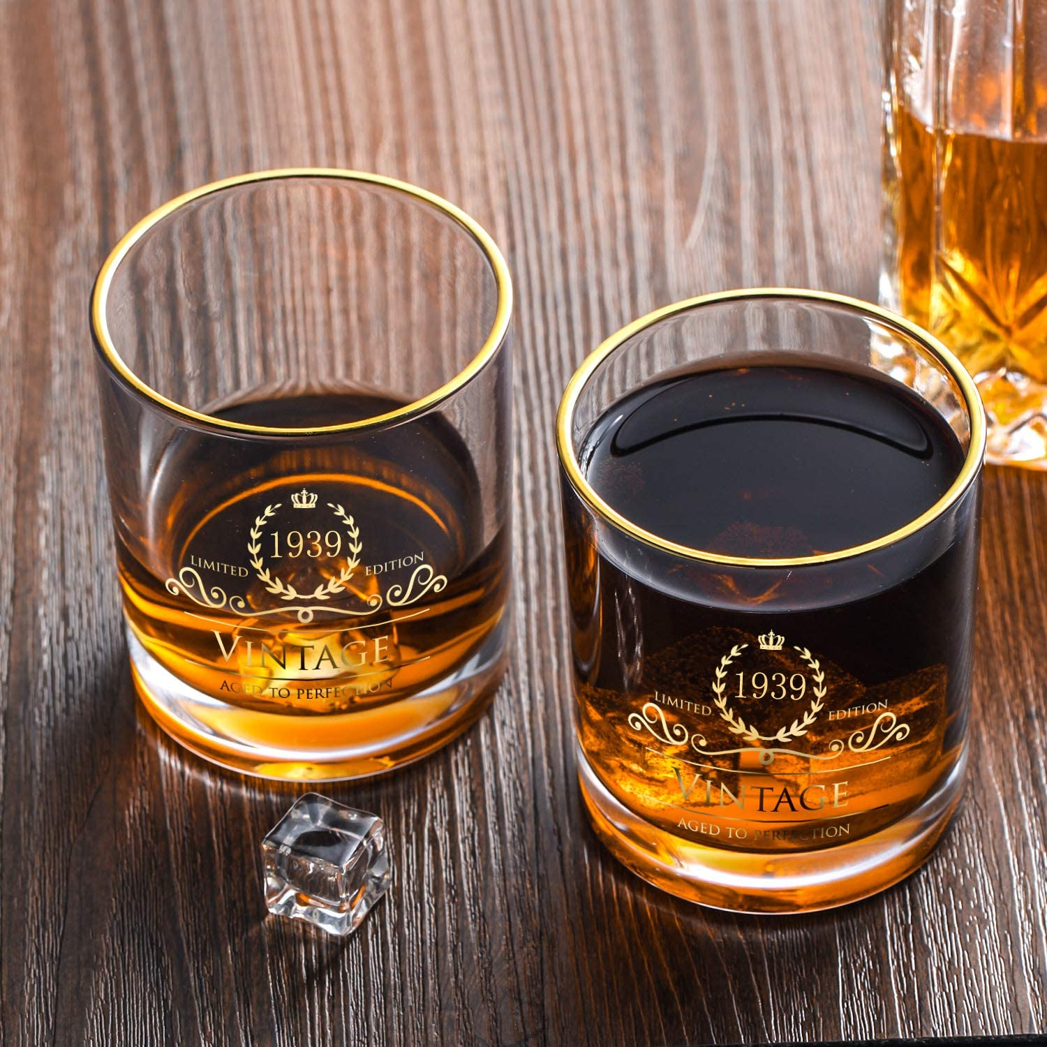 10 oz Bourbon Scotch Perfect for Gift and Home Use 1939 81th Birthday//Anniversary Gift for Men//Dad//Son Vintage Unfading 24K Gold Hand Crafted Old Fashioned Whiskey Glasses Party Decorations