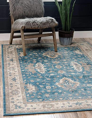 Unique Loom Salzburg Collection Traditional Oriental Light Blue Area Rug 10 0 x 13 0