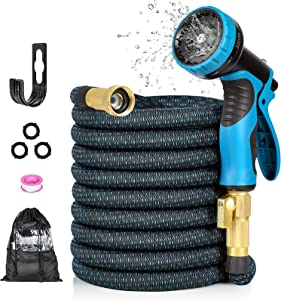 HAUEA Expandable Garden Hose 25FT Flexible Water Hose,Leakproof Expanding Hose with Water Tape and 9 Function Spray Nozzle for Watering and Washing