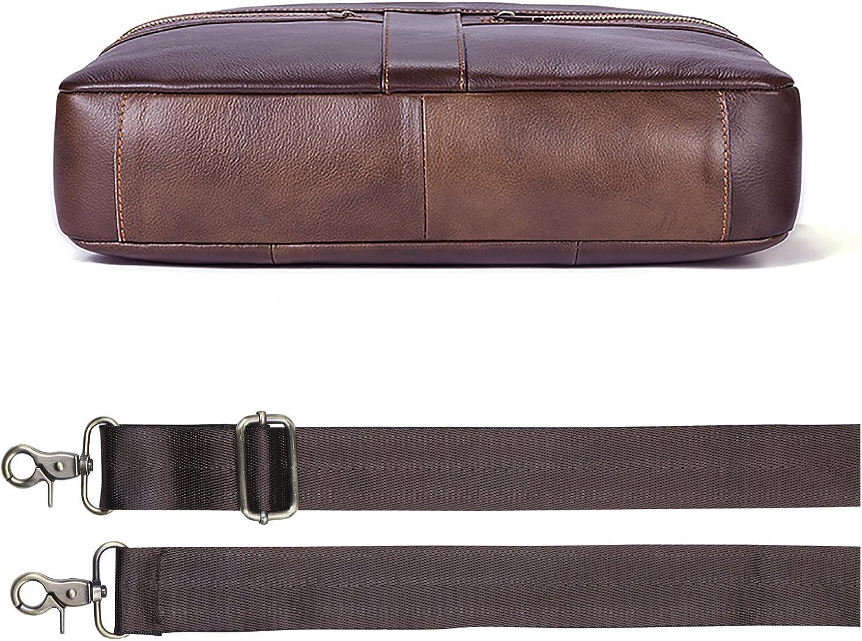 Mens Briefcase TECOOL Genuine Leather Laptop Business Shoulder Bag Messenger Bag Satchel Bag