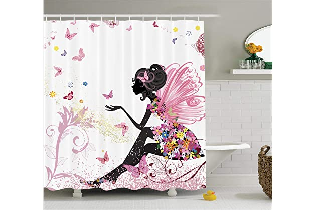 With Floral Dress Flower Design Fairy Angel Wings FAE Home Accent Soft Colors Modern Designer Feminine Decor Dreamy Folklore Shower Curtain Black White