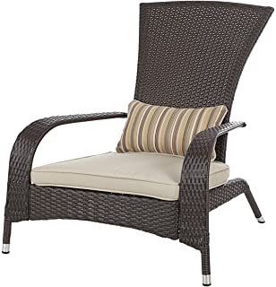 Patio Sense Coconino All Weather Wicker Adirondack Chair W/Lumbar Pillow