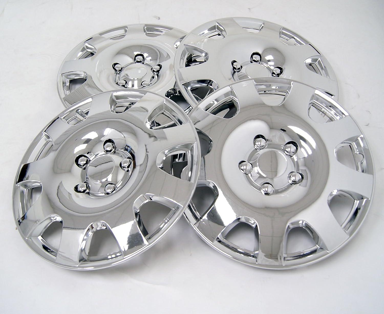 tuningpros wsc-502 C15 cromo Tapacubos rueda Skin Cover 15-inches plata conjunto de 4: Amazon.es: Coche y moto
