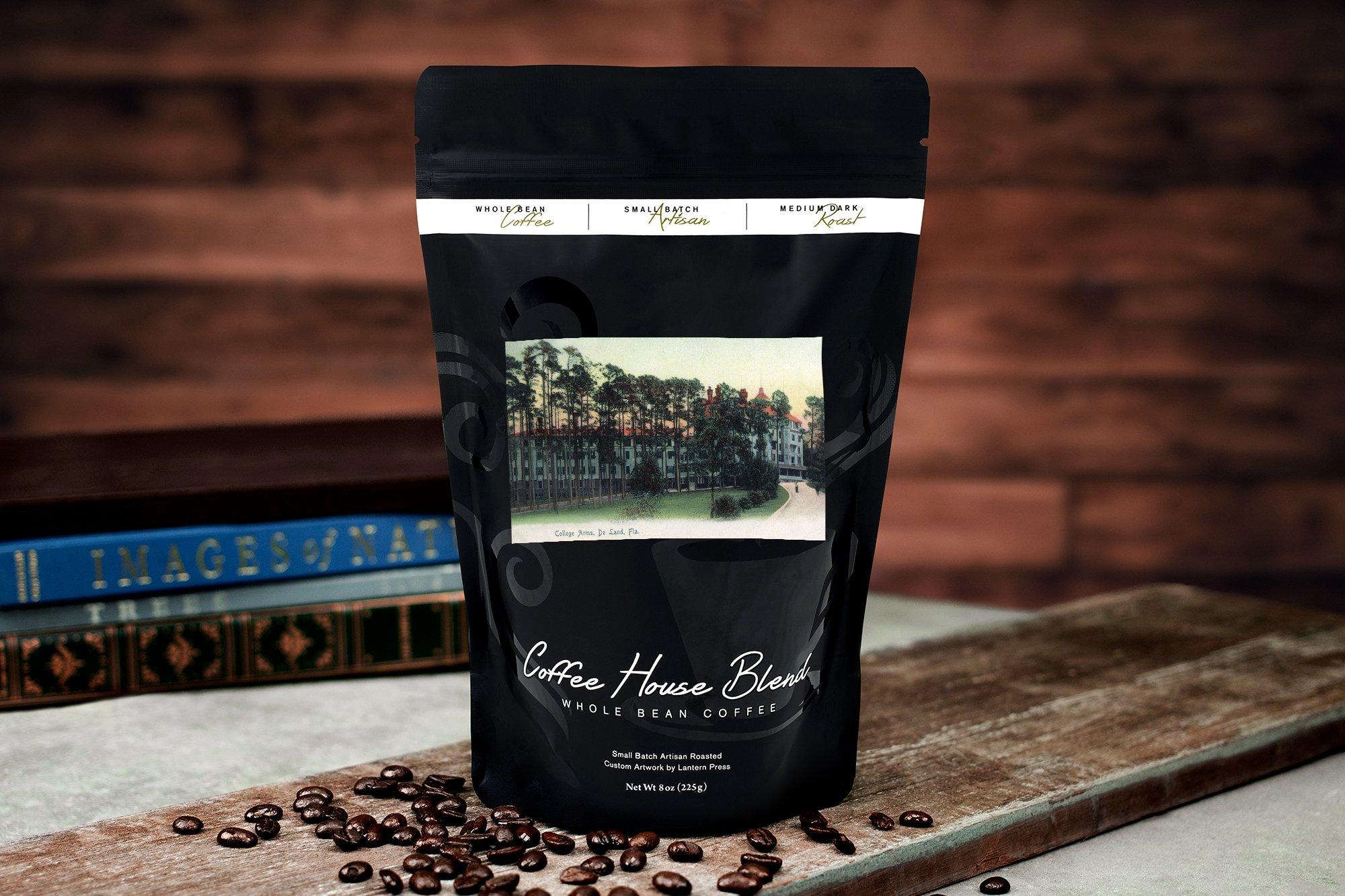Deland, Florida - College Arms Exterior View (8oz Whole Bean Small Batch Artisan Coffee - Bold & Strong Medium Dark Roast w/Artwork) by Lantern Press (Image #2)