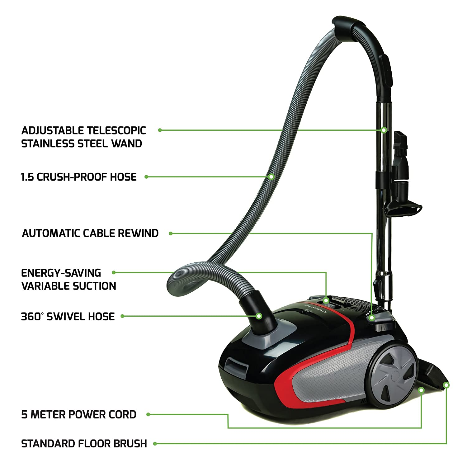 Ovente Electric Vacuum, 3-Stage Filtration with Hepa Filter, Energy-SAVING Speed Control, 1400W, Black ST1600B