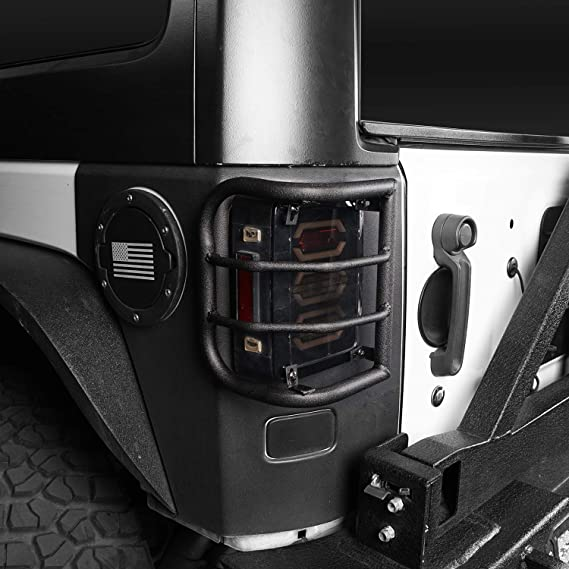 Black Metal Euro Taillight Lamp Guard Cover for 07-17 2017 Jeep JK Wrangler