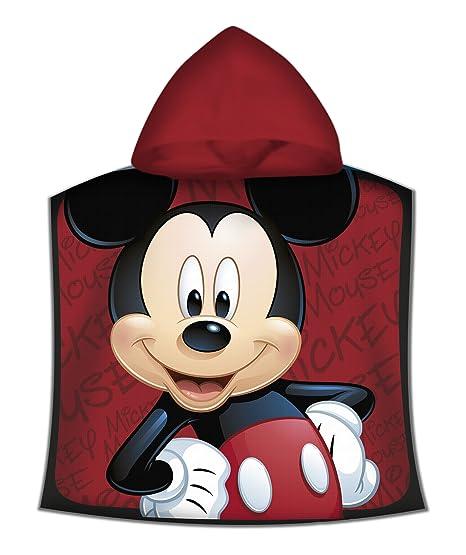 Kids - Poncho Toalla, Diseño Mickey, color Rojo, 50 x 100 cm (