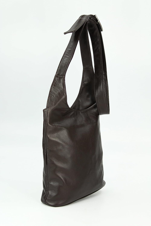 Cross Bag Classic ital. Umhängetasche Damen Ledertasche Handtasche schwarz - 24x28x8 cm (B x H x T) Belli 324Zvyq3I