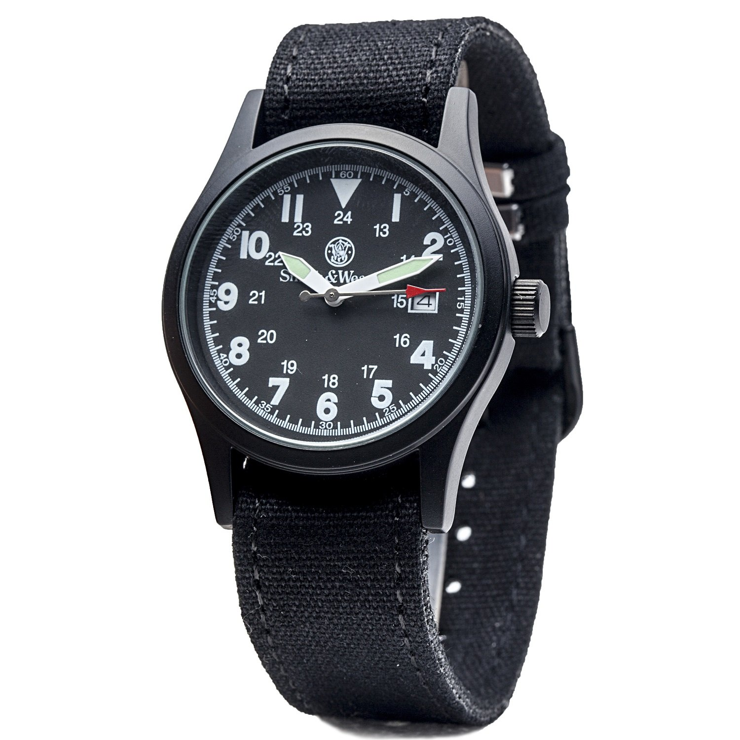 Amazon Smith & Wesson SWW 1464 BLK Military Watch with Three Interchangable Canvas Straps Watches