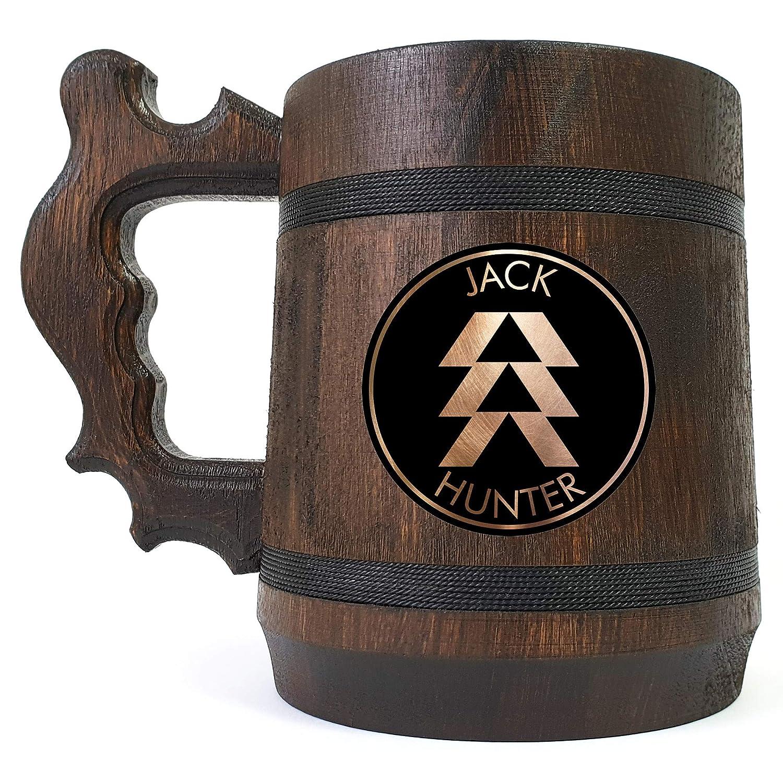 Destiny Hunter Beer Stein Geek Groomsmen Gift Personalized Beer Mug Gift For Him Beer Tankard Custom Gift for Gamer