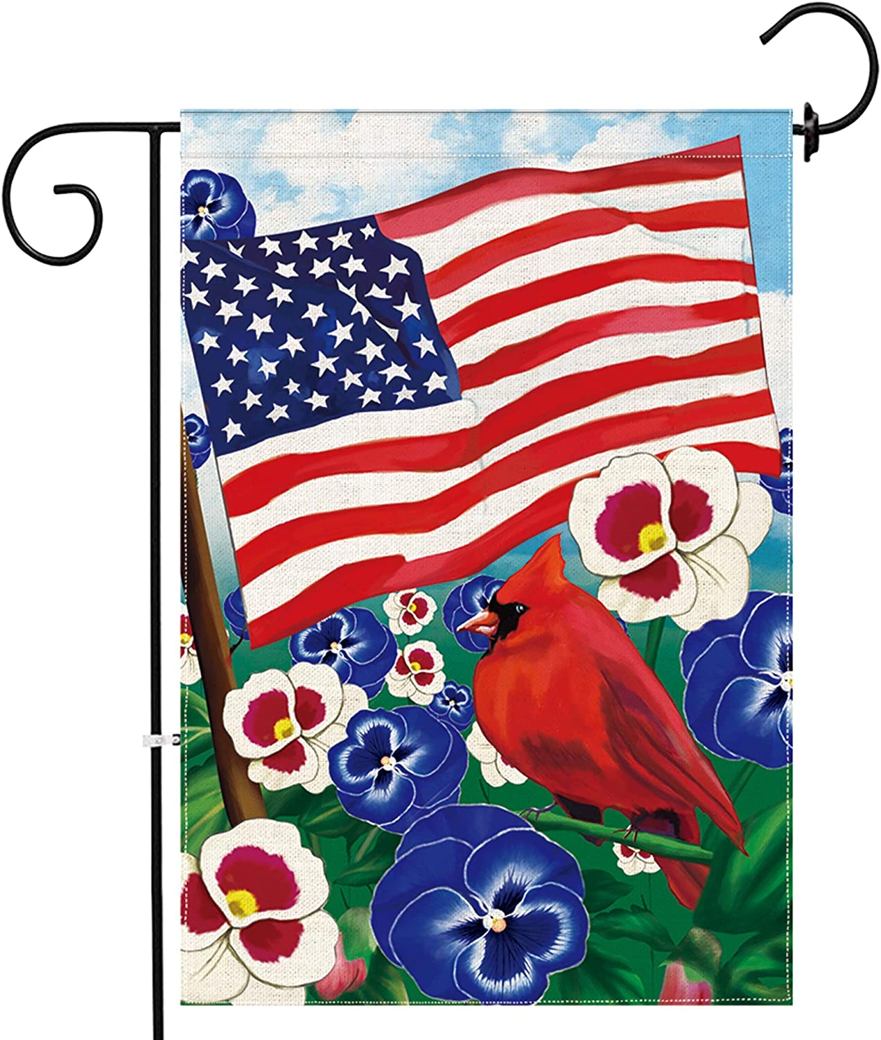 pinata 4th of July Garden Flag Patriotic Seasonal Yard Flags 12 X 18 Double Side Summer Flag Burlap Cardinals Bird Pansy Flower American Flag Fourth of July Banners Outdoor