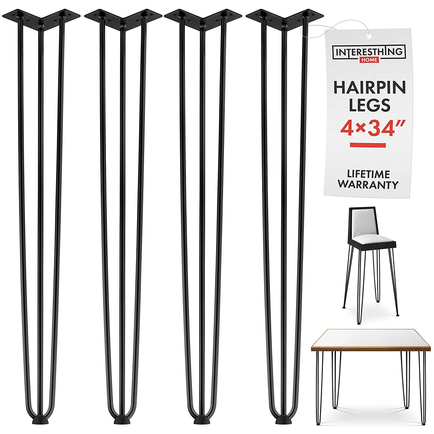 34 Inch Hairpin Legs – 4 Easy to Install Metal Legs for Furniture – Mid-Century Modern Legs for Coffee and End Tables, Chairs, Home DIY Projects + Bonus Rubber Floor Protectors by INTERESTHING Home