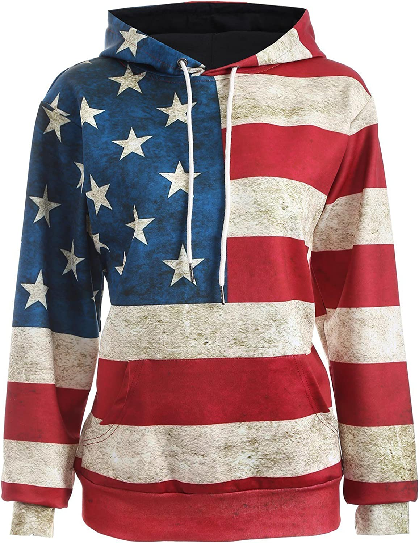 American Flag Patriotic Pullover Hoodie