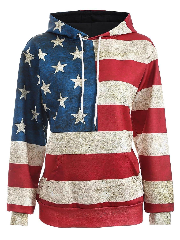 ABD OQC Unisex Fashion USA American Flag Print Pockets Slim Pullover Hoodie Sweatshirt