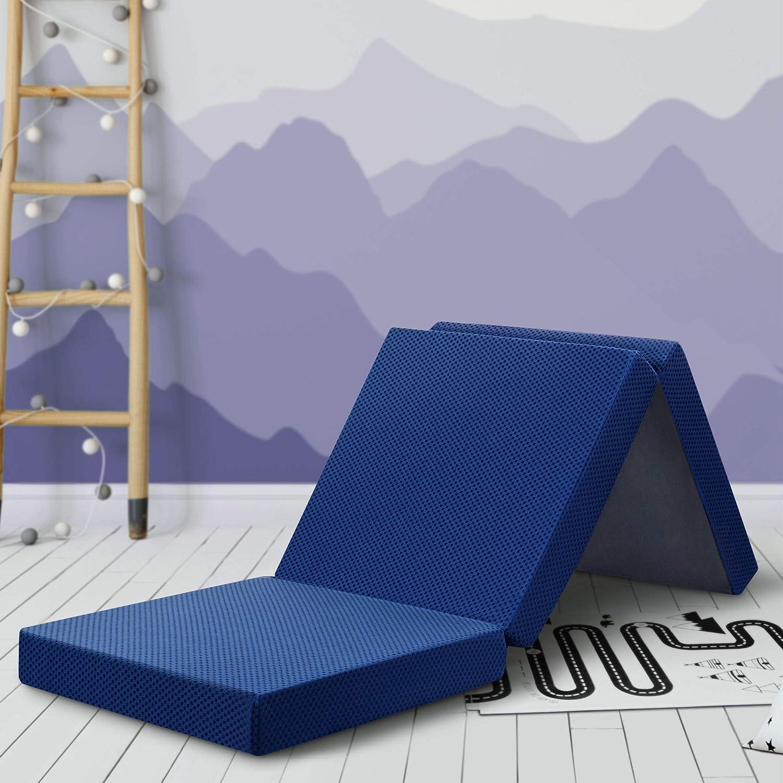 SLEEPLACE 4 Inch Tri-Folding Topper Mattress, Single, Blue