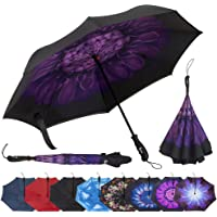 Repel Reverse Folding Inverted Umbrella with 2 Layered Teflon Canopy and Reinforced Fiberglass Ribs (Purple Flower)