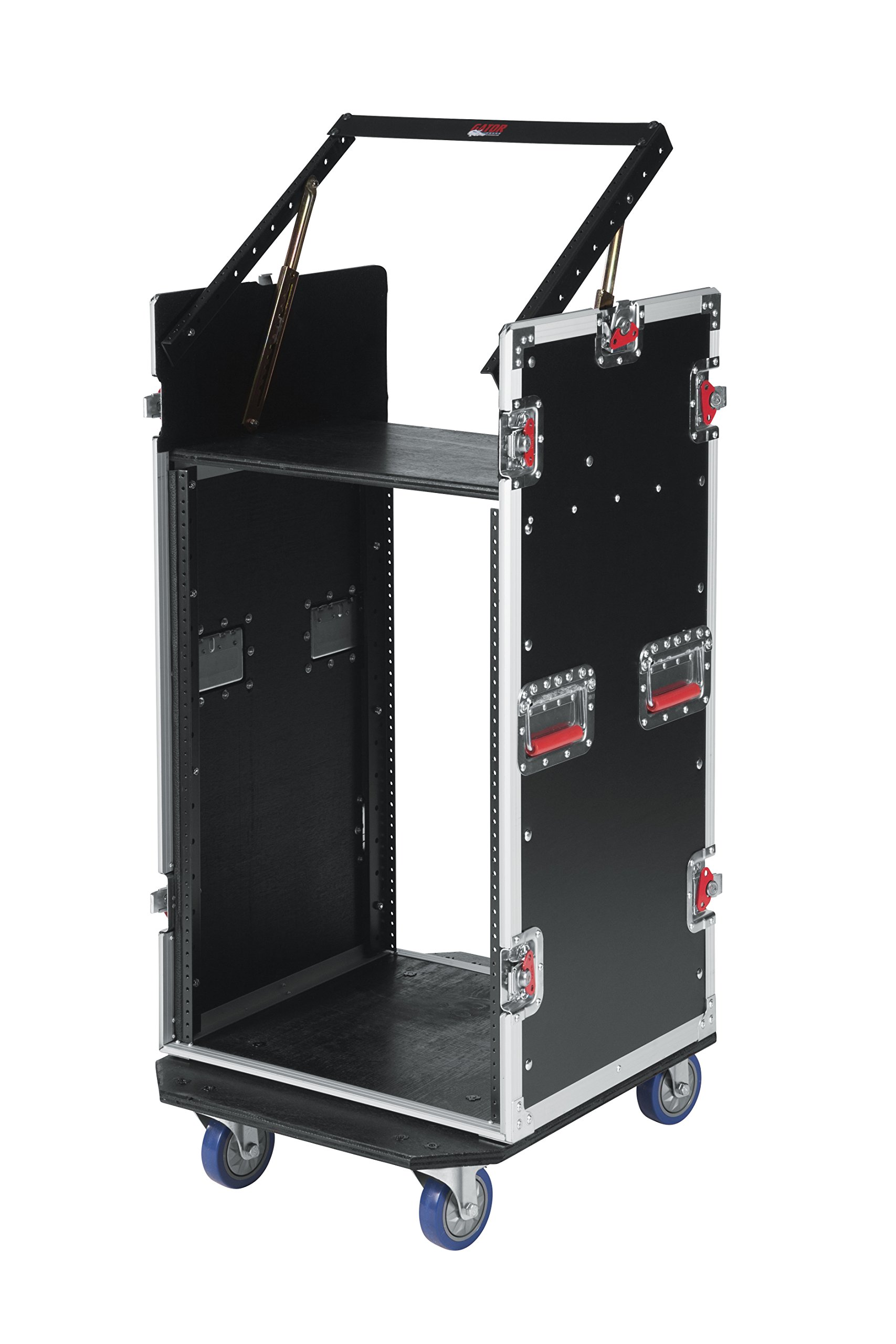 Gator Cases G-TOUR Audio Road Rack with Heavy-Duty Wheels and Tour Grade Hardware; 10U Pop Up Rack Top, and 16U Lower Rack (G-TOUR 10X16 PU)