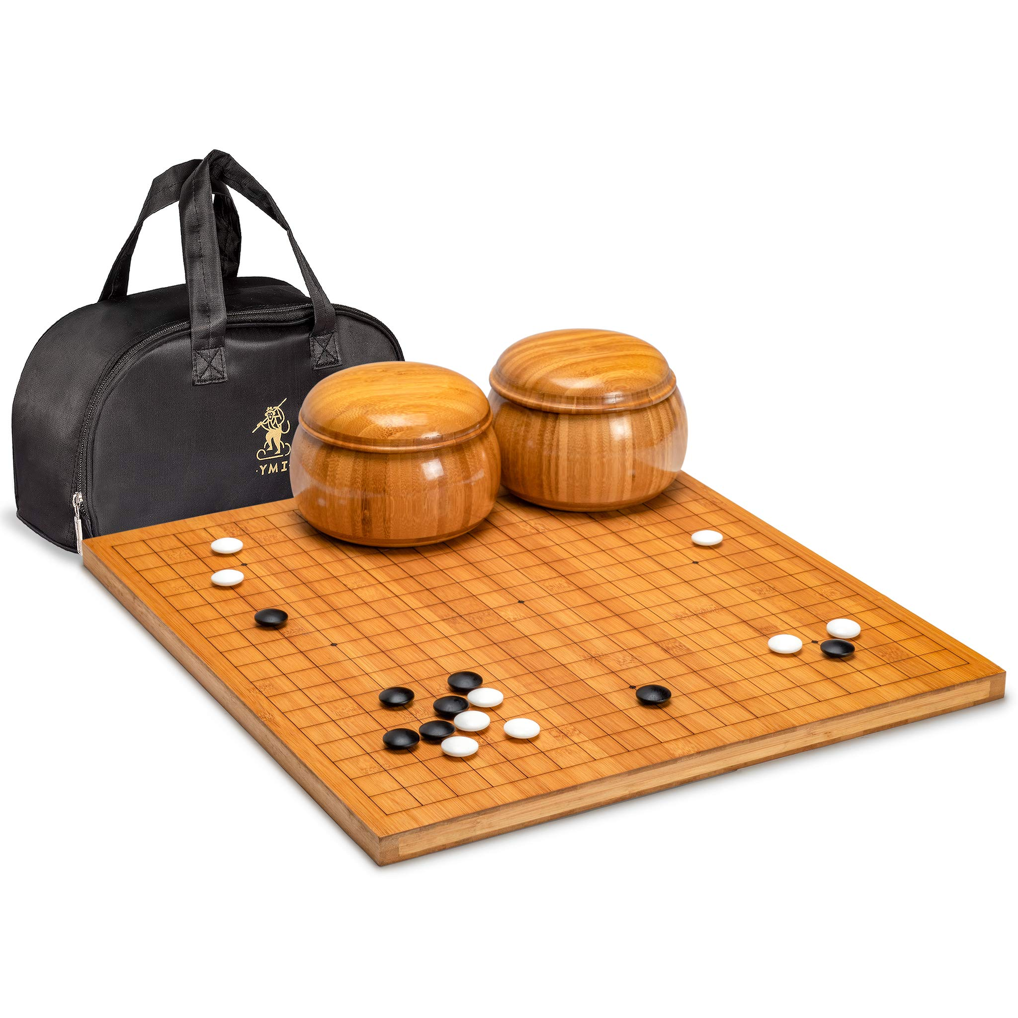 Yellow Mountain Imports Go Game Set with 0.8'' Chinese Bamboo Go Board - Reversible (19x19 and 13x13) - Size 33 (9.2mm) Stones - Double Convex Korean Hardened Glass Stones and Bamboo Bowls