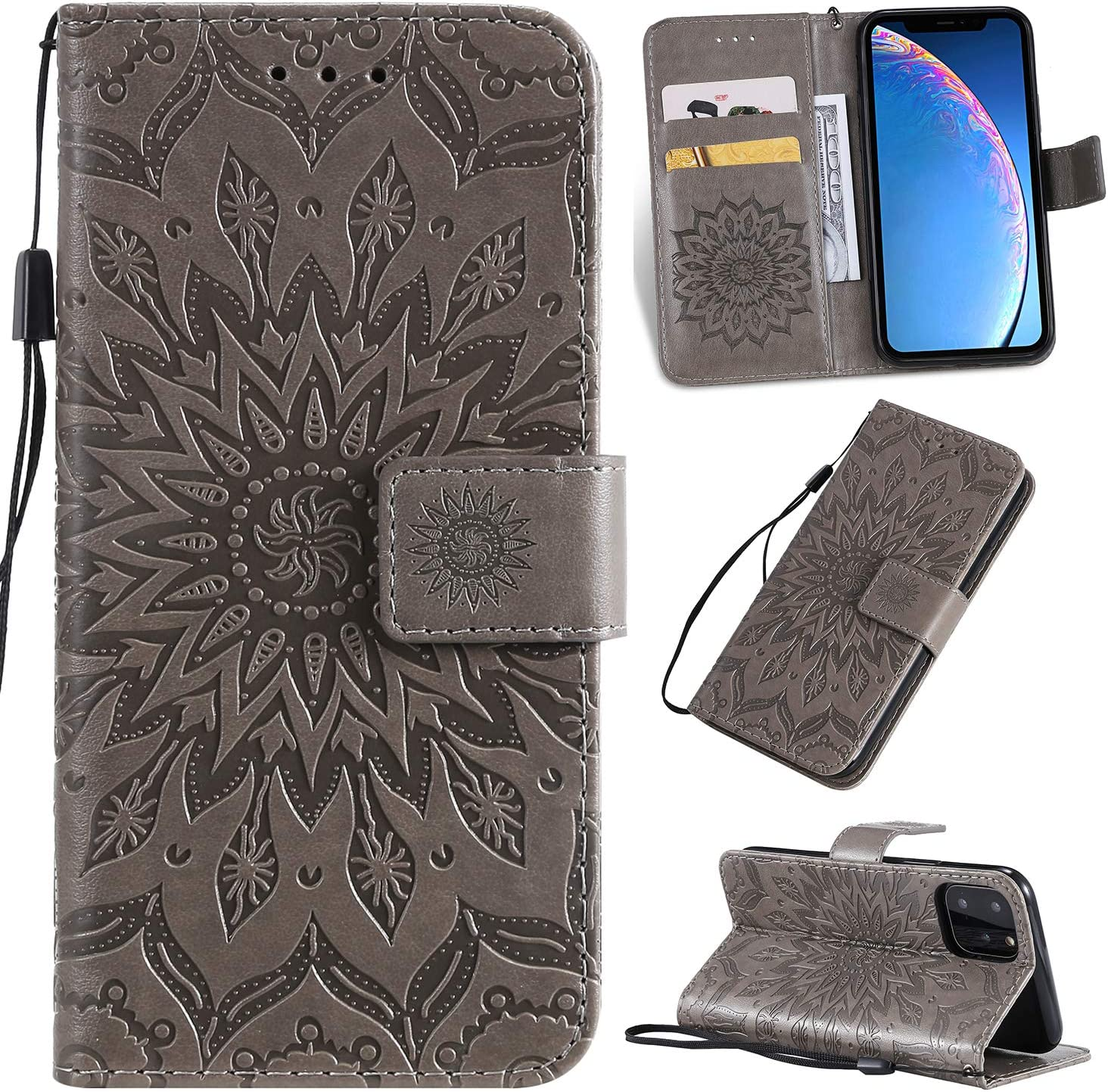 Cfrau Kickstand Wallet Case with Black Stylus for iPhone 11 Pro 2019,Retro Mandala Sunflower PU Leather Magnetic Flip Folio Stand Soft Silicone Card Slots Case with Wrist Strap Brown