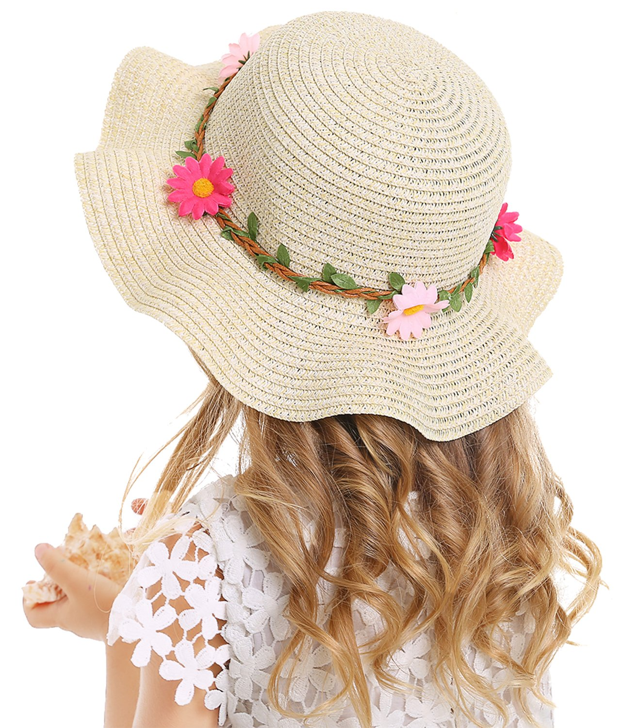 Bienvenu Sun Straw Hat Kids Girls Large Wide Brim Travel Beach Beanie Cap,Beige by Bienvenu (Image #7)