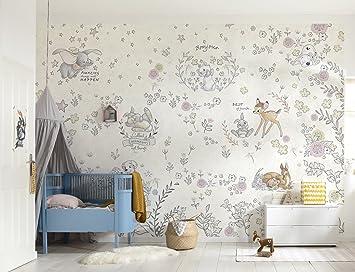 Komar - Disney - Fototapete BEST OF FRIENDS - 368 x 254 cm - Tapete, Wand  Dekoration, Mädchen, Babyzimmer, Kinderzimmer, Bambi, Dumbo, Marie, Baby -  ...