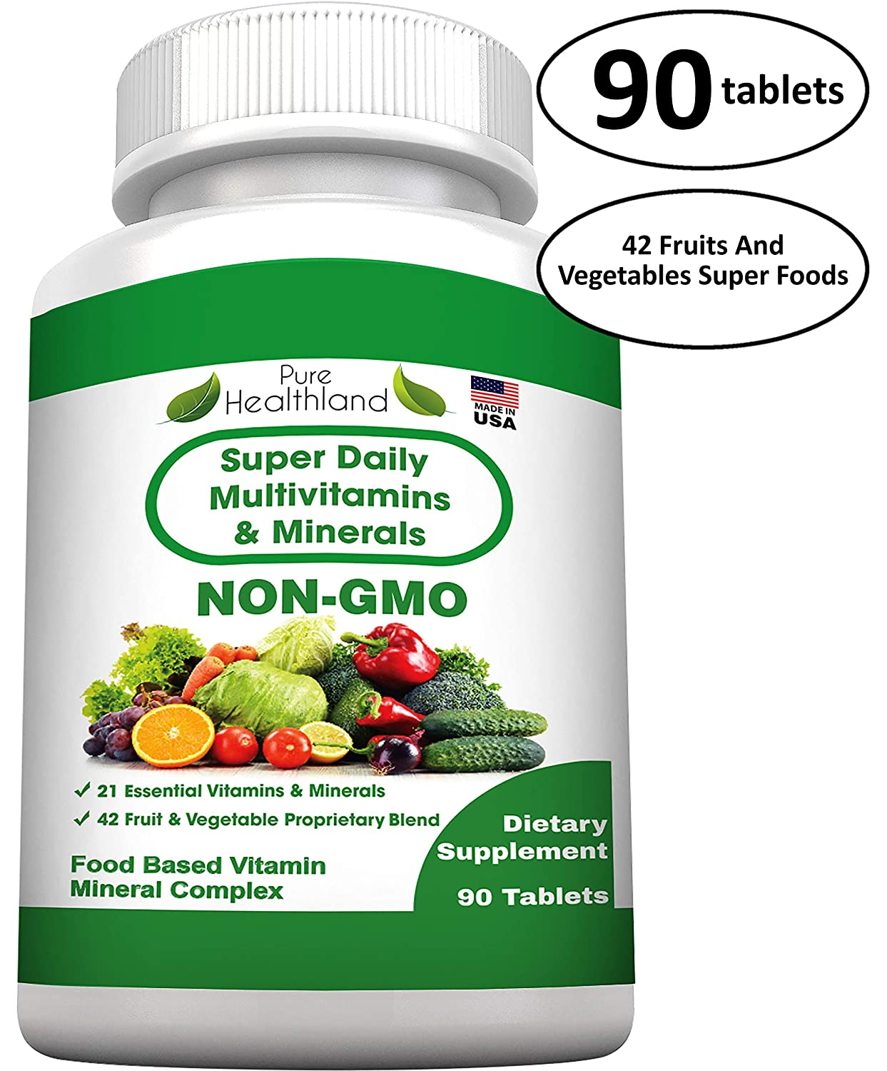 Food Based Super Daily Multivitamin Supplement Non GMO Tablets Best for Adult Men Women Seniors with 42 Natural Fruits Vegetables Blend, 21 Essential Vitamins Minerals. 90 Tablets.