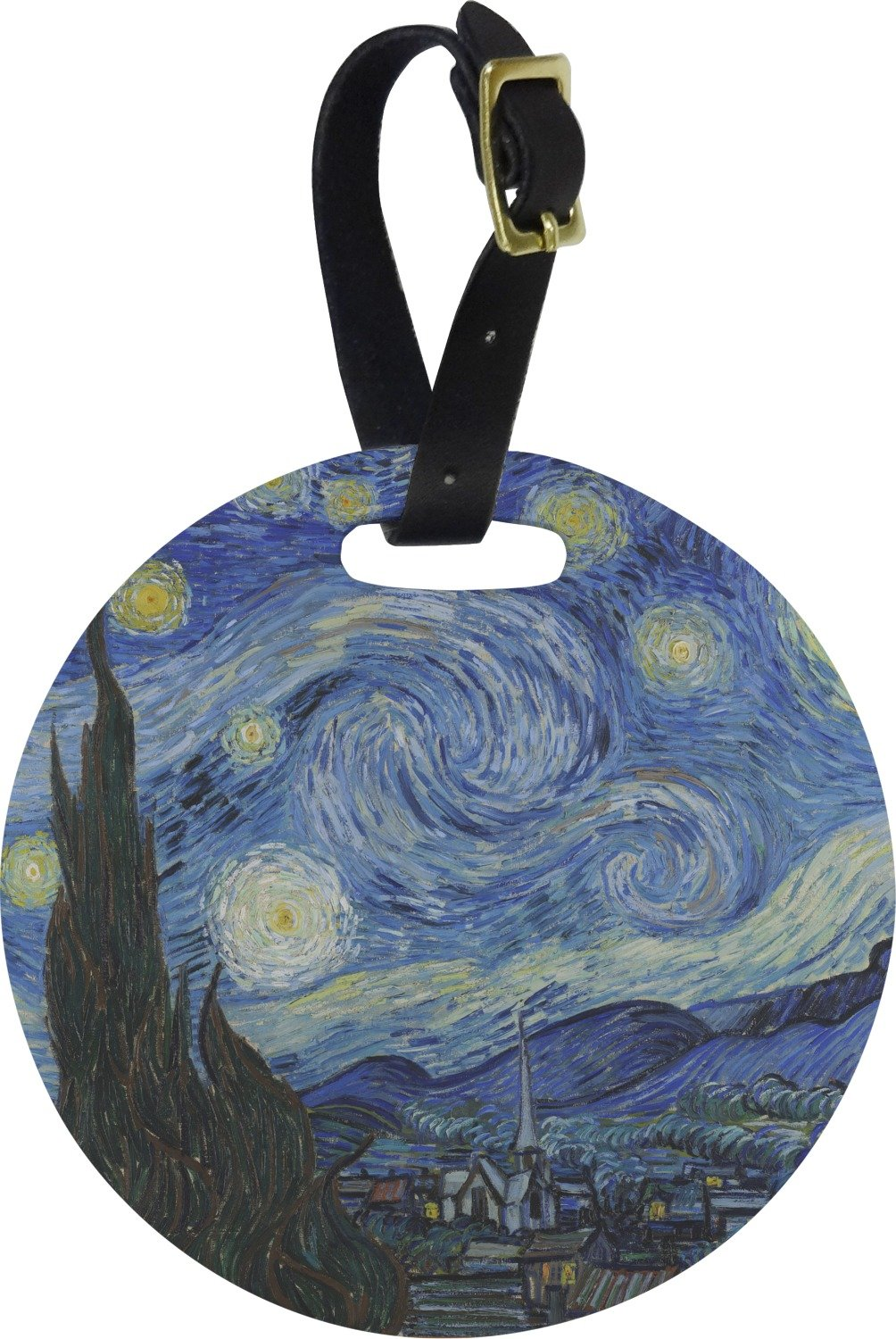 The Starry Night (Van Gogh 1889) Round Luggage Tag