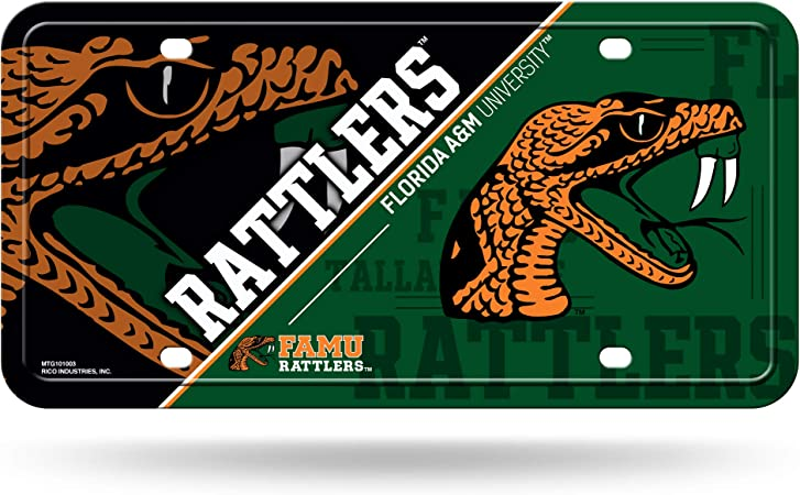 NCAA Florida A&M Rattlers Metal License Plate Tag