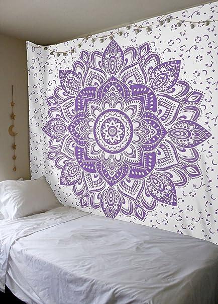 amazon com labhanshi sparkly purple gold ombre tapestry mandala rh amazon com Purple Background Purple Background