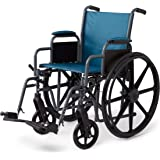 """Medline Folding Wheelchair with Desk-Length Arms and Swing-Away Leg Rests, 18"""" x 16"""" Seat, Microban Antimicrobial Protection, Gray Frame, Teal Nylon Upholstery"""