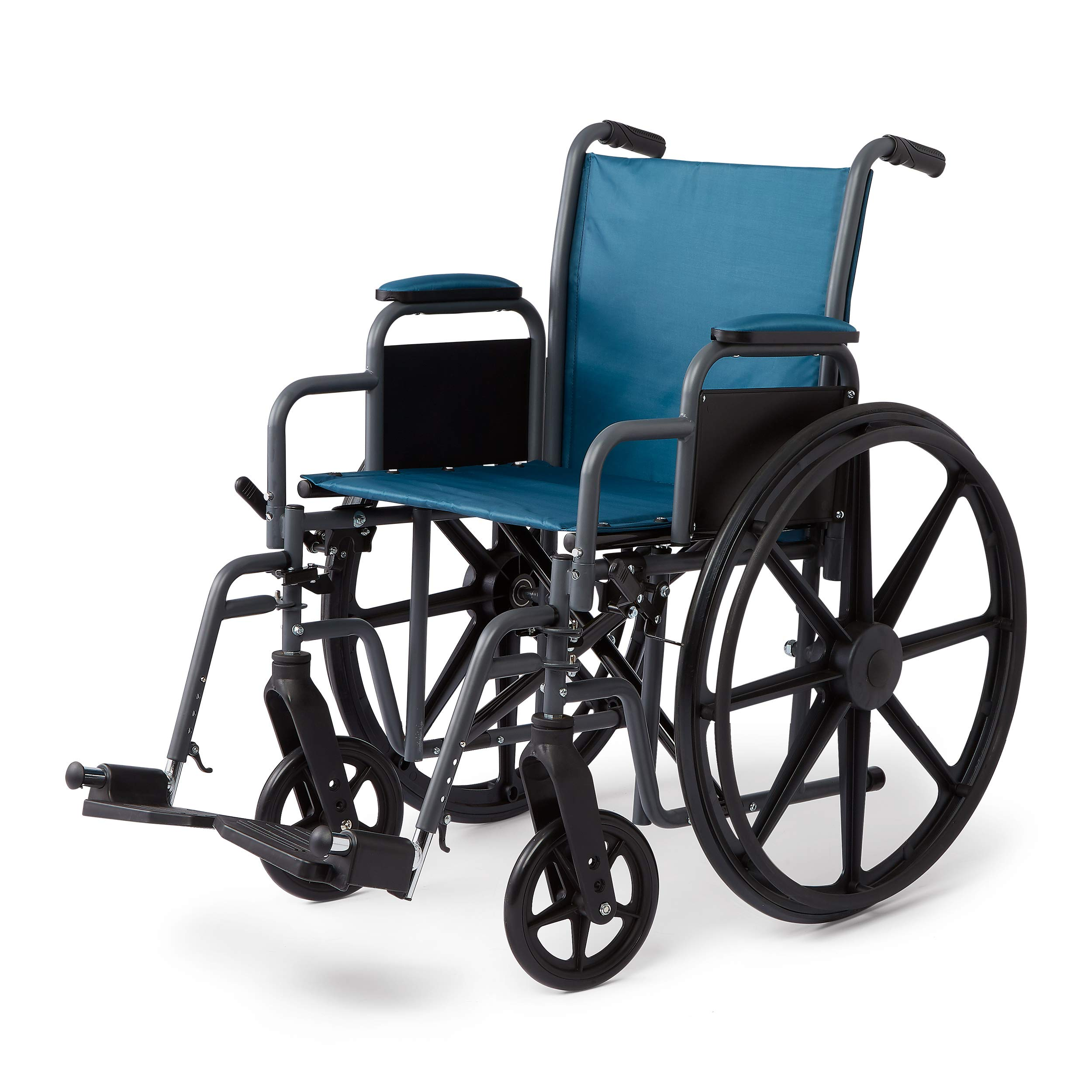 Medline Folding Wheelchair with Desk-Length Arms & Swing-Away Leg Rests, 18'' X 16'' Seat, Microban Antimicrobial Protection, Gray Frame, Teal Nylon Upholstery by Medline