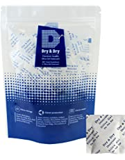 Dry & Dry 2 Gram [100 Packets] Premium Pure Silica Gel Packets Desiccant Dehumidifier - Food Safe Rechargeable(FDA Compliant) Silica Packets for Moisture Absorber