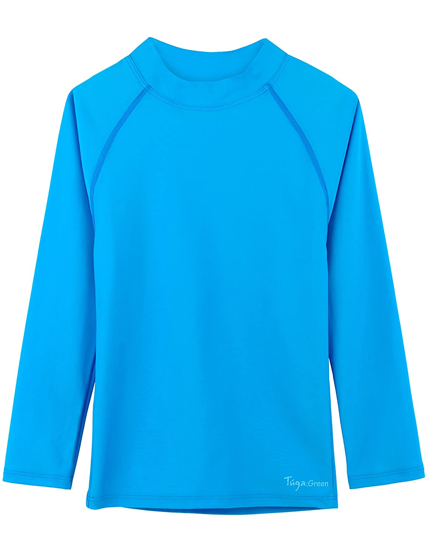 Tuga Girls Long Sleeve Rash Guard, UPF 50+ Sun Protection Swim Shirt
