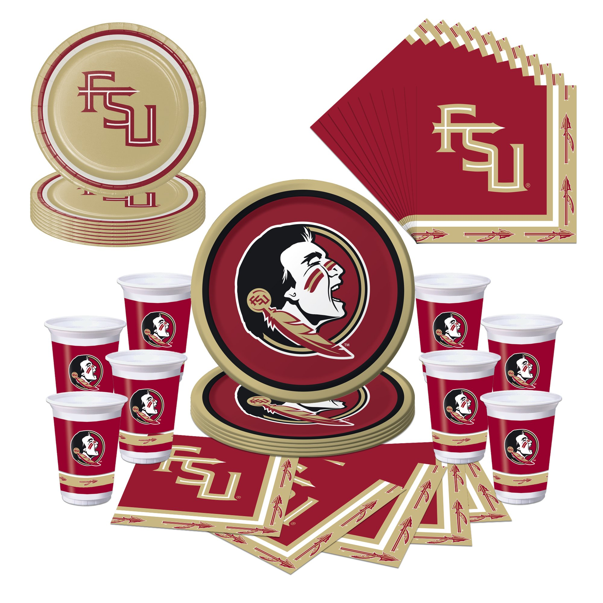 Florida State Seminoles Party Pack - Plates, Cups, Napkins - Serves 8